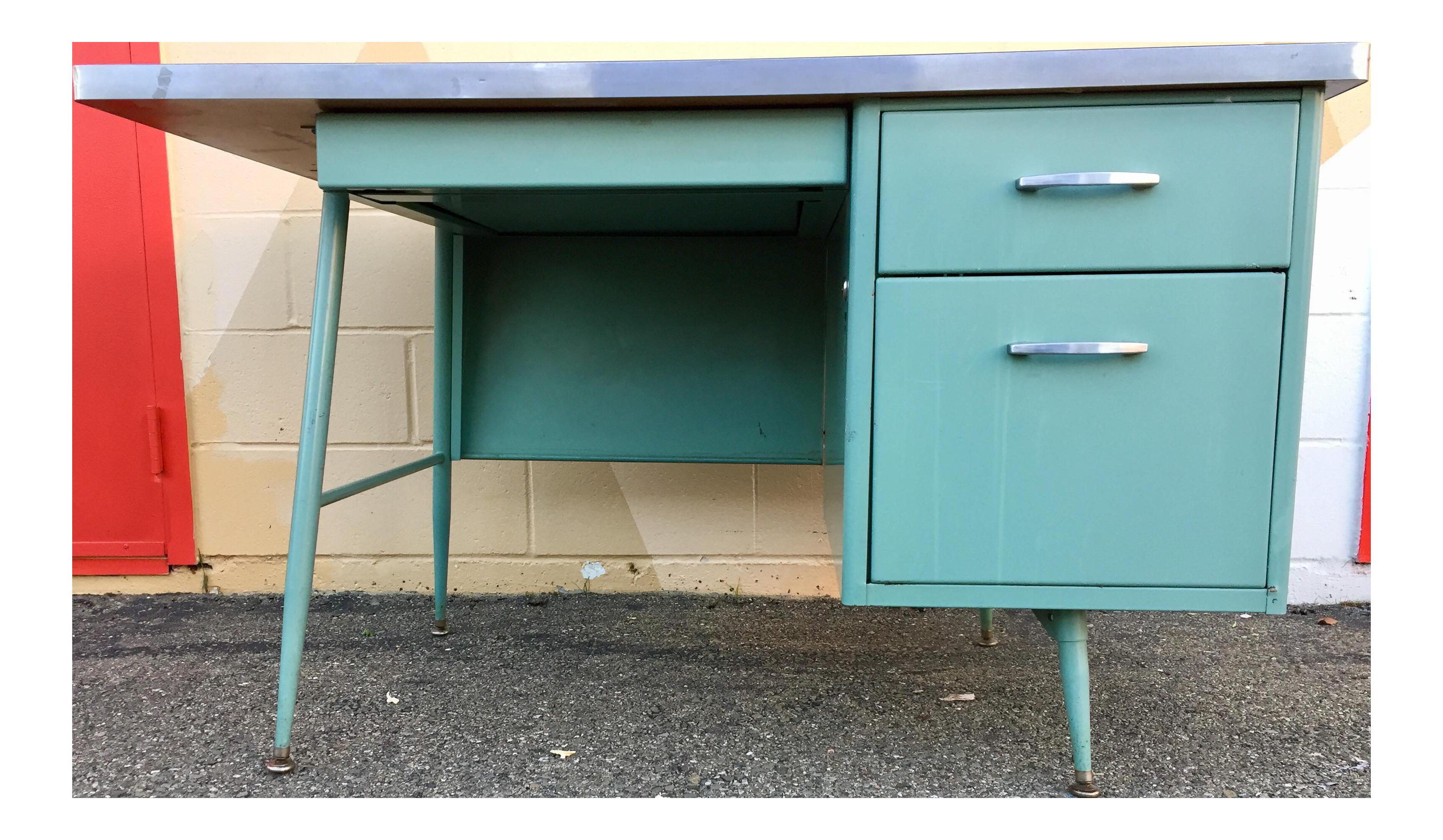 steelcase blue teachers locking 3 drawer desk