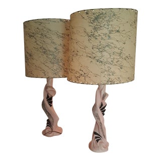 Mid-Century Pink Lamps & Parchment Shades - A Pair
