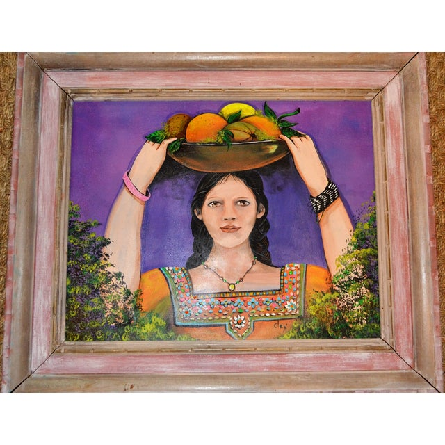 Image of Young Woman in Braids With Fruit Painting