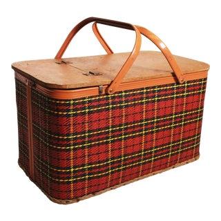 Vintage Plaid Thatch Wicker Picnic Basket by Redmon