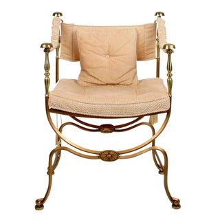 Brass & Steel Campaign-Style Armchair