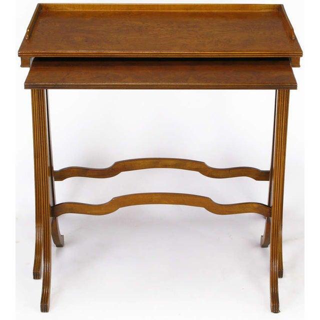 Baker Art Nouveau Style Burled Walnut Nesting Tables - Image 4 of 10