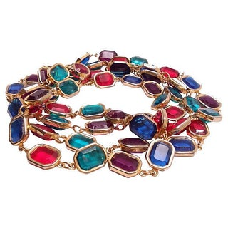 XL Jewel Tone Chicklet Necklace