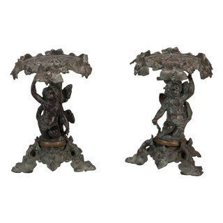 19th Century Tall Bronze Tazzas With Putti & Ivy Leaves - Pair