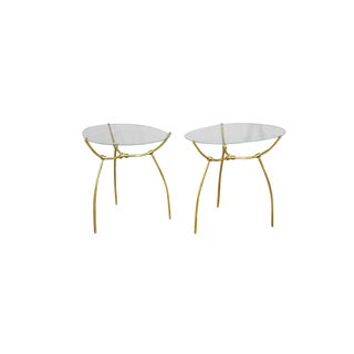 Polished Brass & Glass Top Tables - A Pair