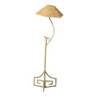 C. 1980s Mario Lopez Torres Wicker/Reed Floor Lamp