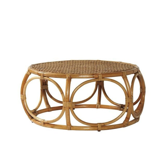 Serena lily elsa coffee table chairish Rattan round coffee table