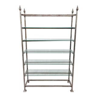 Brushed Steel & Glass Etagere Shelf