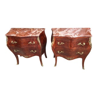 Pair of Marble Topped French Style Bombe Commodes
