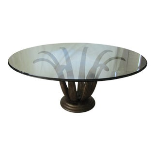 Beveled Glass Top & Metal Lotus Base Table