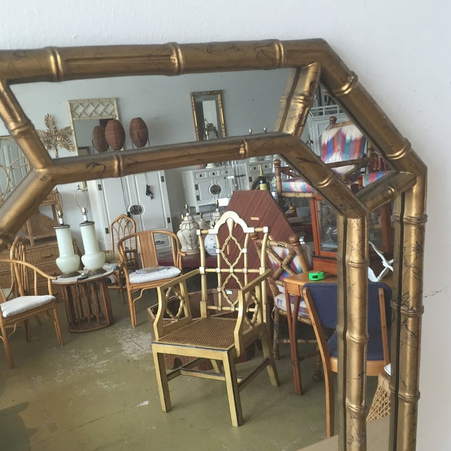 Hollywood Regency Faux Bamboo Octagon Mirror - Image 5 of 5
