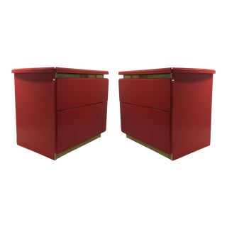 Vintage Coral Red Nightstands - Pair