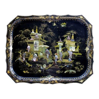 A Shapely and Finely Decorated English Black Tole Tray on Stand with Chinoiserie Decoration
