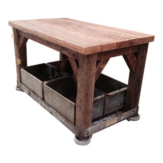 Rolling Industrial Table With Storage Bins