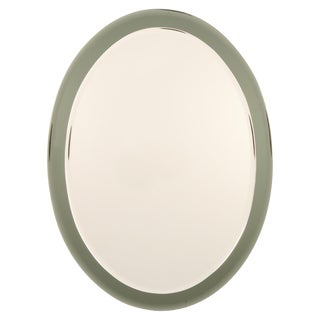 Italian Oval Shaped Beveled Wall Mirror in the Style of Fontana Arte 7709