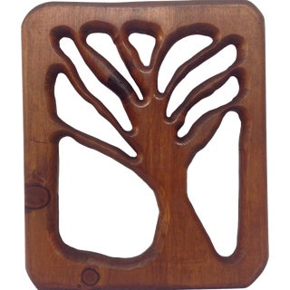 Pierced Wood Tree Relief Panel