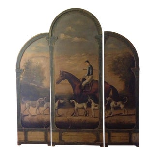 Horseback Hunting Scene 3 Panel Screen