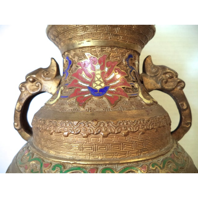 Japanese Champleve Lamp - Image 3 of 6