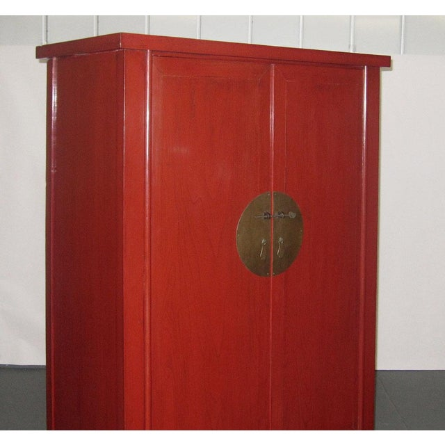 Chinese Ming-Style Red Lacquer Cabinet Armoire - Image 6 of 8