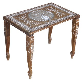 Vintage Peacock Inlay Coffee Table