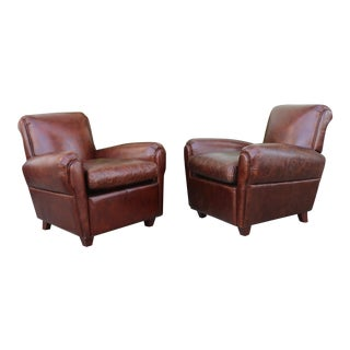 Vintage Leather Club Chairs - a Pair