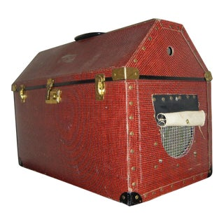 Vintage Dark Red Houndstooth Hinged Cat Carrier