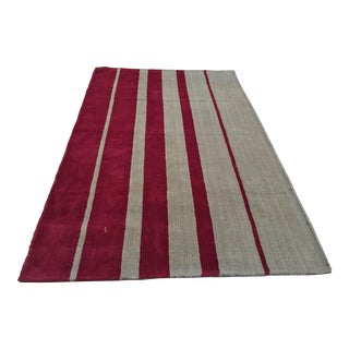 Indian Hand Tufted Area Rug - 4′11″ × 8′