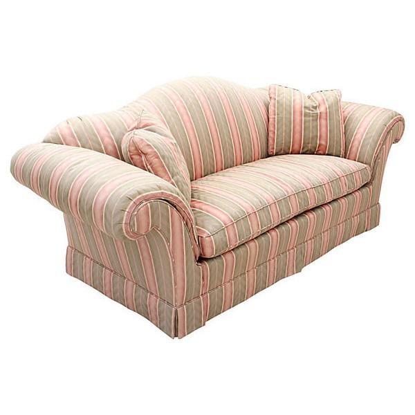 baker camel back upholstered sofa chairish