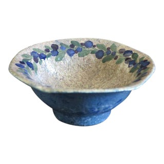Josef Ekberg for Gustavsberg Ceramic Pottery Blueberry Bowl Fully Signed and Dated 1916