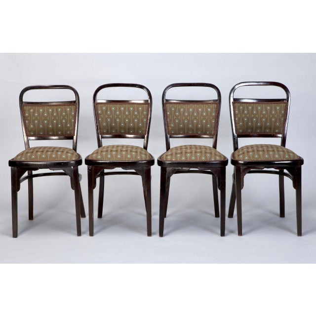 Set of 4 Otto Wagner Secessionist Walnut Dining Chairs - Image 2 of 10