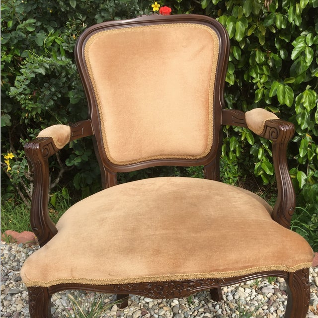 Vintage French Provincial Carved Wood Armchair - Image 5 of 8