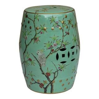 Handmade Pastel Blue Green Porcelain Bird Flower Round Stool Ottoman