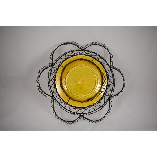 German Majolica & Looped Wire Basket - Image 11 of 11