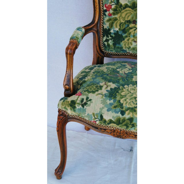 Scalamandre Marly Velvet Tapestry Upholstered Walnut Armchair - Image 4 of 10