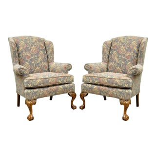 Vintage American of High Point Chippendale Ball & Claw Wing Back Chairs - a Pair