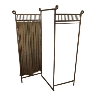 Antique 3-Panel Wood Room Divider Screen