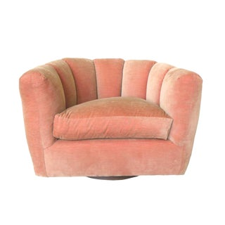 Milo Baughman Style Channel Back Swivel Club Chair