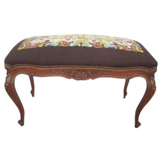 French Antique Needlepoint Bench