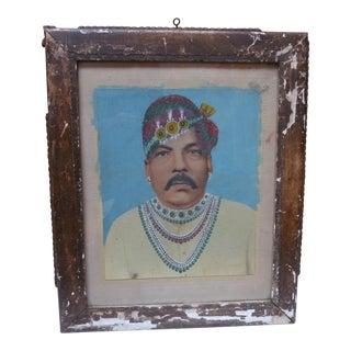 Antique Painted Photograph Portrait of Indian Man