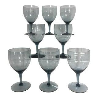 Vintage Morgantown Smoke Blue Gray Wine Glasses - Set of 8