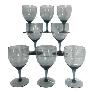 Vintage Morgantown Smoke Blue Gray Wine Glasses - Set of 8