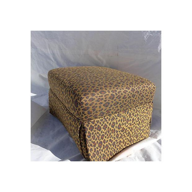 Faux Leopard Skin Upholstered Ottoman - Image 3 of 5