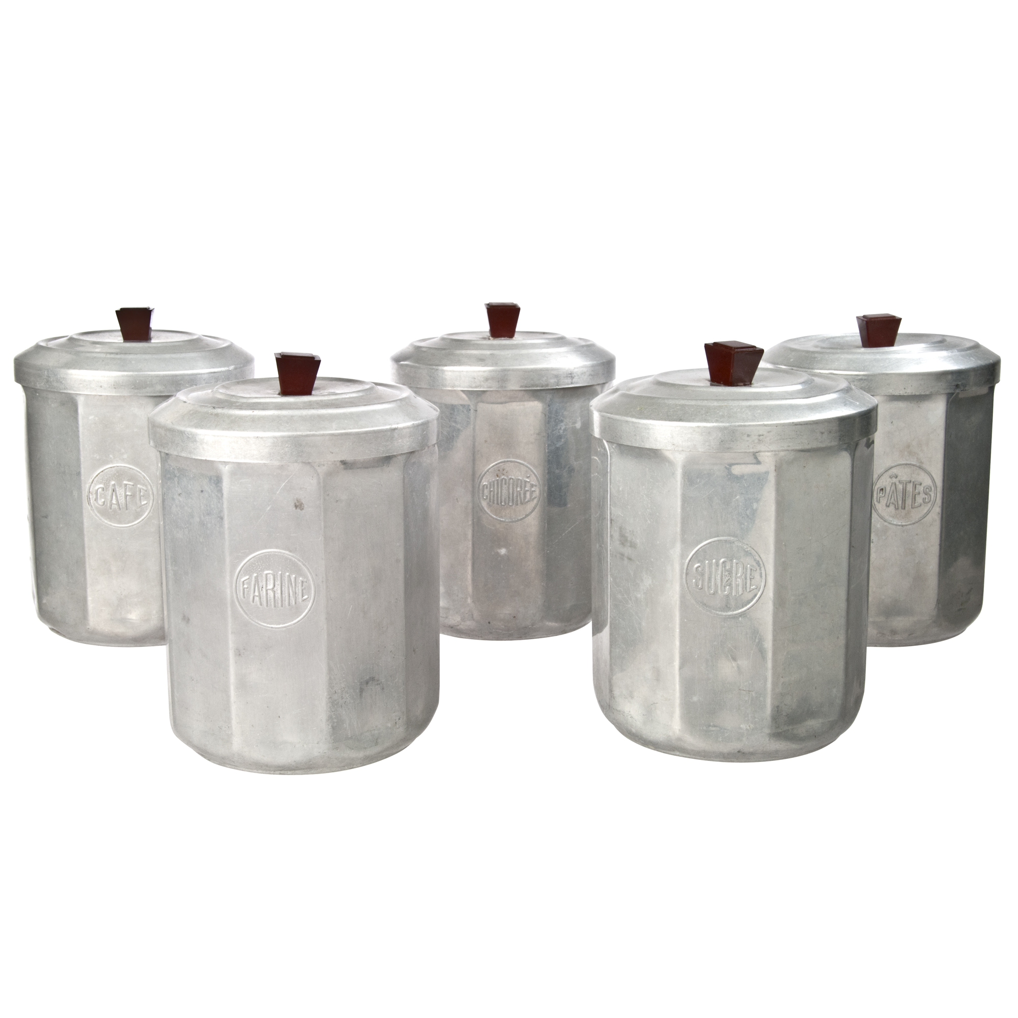 French Kitchen Canisters: French Aluminum Kitchen Canisters - Set Of 5
