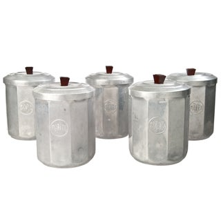 French Aluminum Kitchen Canisters - Set of 5