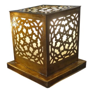 Hand Cut Brass Work Cube Lamp