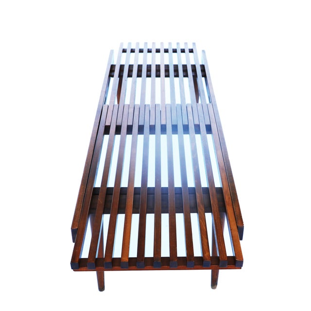 Nelson Herman Miller Style Slatted Wood Bench - Image 5 of 7