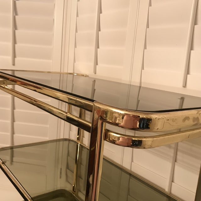 Mid-Century Brass & Smoke Glass Bar Cart - Image 5 of 10