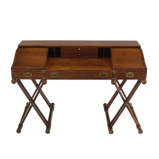 Faux Bamboo Base Campaign Secretary Roll Top Style Desk
