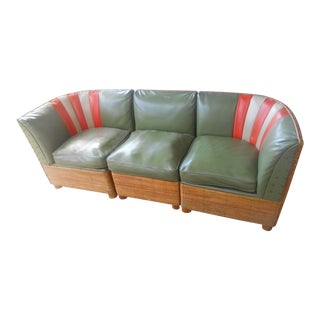 Vintage Mid-Century Cane & Rattan Sectional