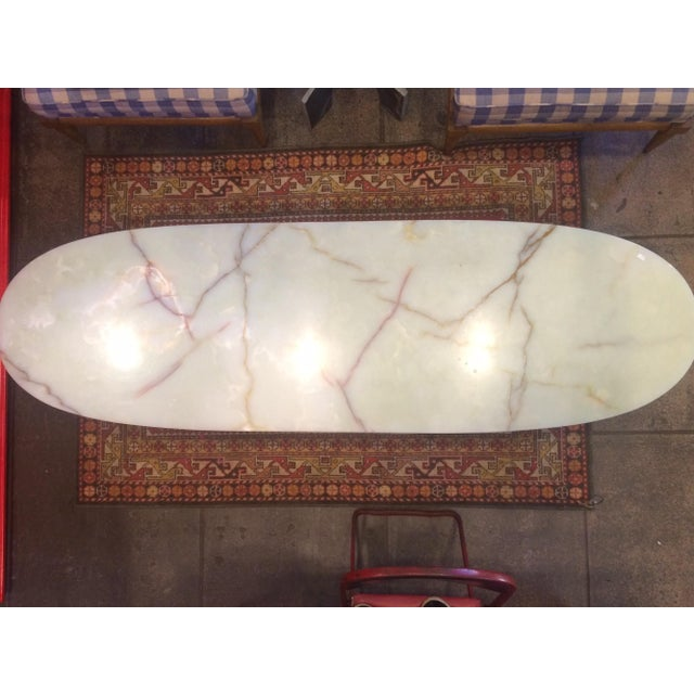 Image of Mid Century Oval Coffee Table With Marble Top